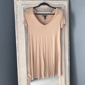 Tan T-shirt dress with V neck